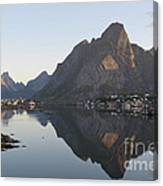 Reine Village In Early Morning Light Canvas Print