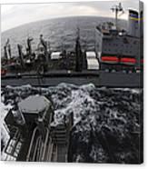 Replenishment At Sea Between Usns Canvas Print