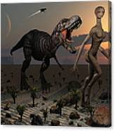 Reptoids Tame Dinosaurs Using Telepathy Canvas Print