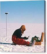 Researcher Measures The Flow Rate Of A Glacier Canvas Print