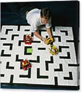 Researcher Testing Lego Robots Playing Pacman Canvas Print
