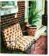 Retro Grunge Sidewalk Bench Seat Canvas Print