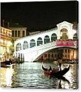 Rialto Bridge Night Scene Canvas Print