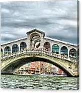 Rialto Bridge Over The Grand Canal Of Venice Canvas Print