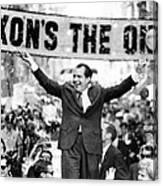 Richard Nixon, Delivering His The V Canvas Print