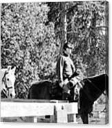Riding Soldiers B And W II Canvas Print