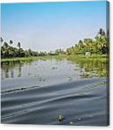 Ripples On The Water Of The Saltwater Lagoon In Alleppey In Kerala In India Canvas Print