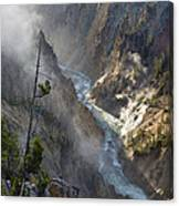 Rising Mists From Grand Canyon Of The Yellowstone Canvas Print