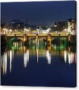 River Liffey At Night, Oconnell Street Canvas Print