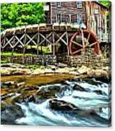 River Rock And A Grist Mill Canvas Print