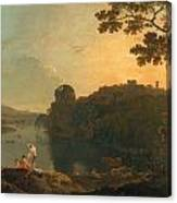 River Scene- Bathers And Cattle Canvas Print