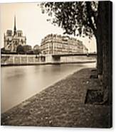 River Seine And Cathedral Notre Dame Canvas Print