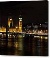 River Thames And Westminster Night View Canvas Print