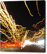 Road Cars And Street Lights Canvas Print