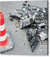 Roadworks - Asphalt And Pylon Canvas Print