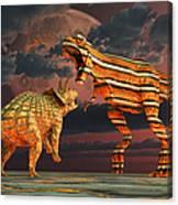 Robotic T. Rex & Triceratops Battle Canvas Print