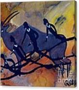Rock Art No 6  Hunter's And Eland Canvas Print
