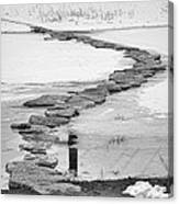 Rock Lake Crossing In Black And White  Canvas Print