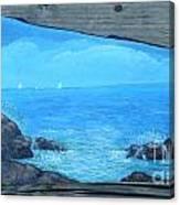 Rock Painting-ocean Sailboats Canvas Print