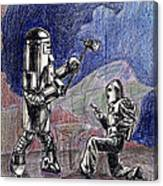Rocket Man And Robot Canvas Print