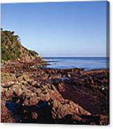 Rockpools In Volcanic Rock Formations Canvas Print