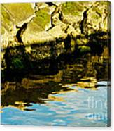 Rocks And Reflections On Ocean Canvas Print
