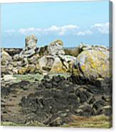 Rocks At Low Tide Iles Chausey Canvas Print