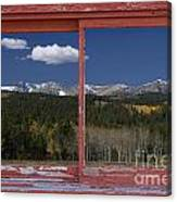 Rocky Mountain Autumn Red Rustic Picture Window Frame Photos Art Canvas Print