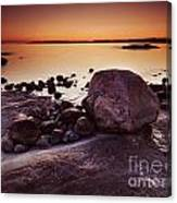 Rocky Shore At Twilight Canvas Print