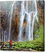 Romantic Scenery By The Waterfall Canvas Print