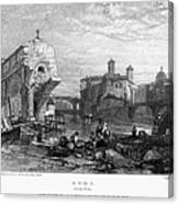 Rome: Ponte Rotto, 1833 Canvas Print