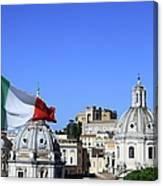 Rome Skyline With Italian Flag Canvas Print