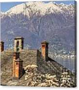 Roof With Chimney And Snow-capped Mountain Canvas Print