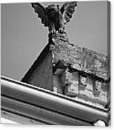 Rooftop Chained Gargoyle Statue Above French Quarter New Orleans Black And White Canvas Print