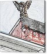 Rooftop Gargoyle Statue Above French Quarter New Orleans Colored Pencil Digital Art Canvas Print