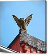 Rooftop Gargoyle Statue Above French Quarter New Orleans Film Grain Digital Art Canvas Print