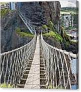 Rope Bridge At Carrick-a-rede In Northern Island Canvas Print