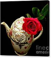 Rose With China Teapot Canvas Print