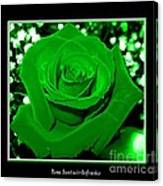 Rose With Green Coloring Added Canvas Print