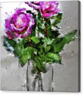 Roses In A Jar Canvas Print