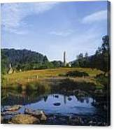 Round Tower In The Forest Glendalough Canvas Print