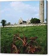 Round Tower, Kilmacduagh Near Gort, Co Canvas Print