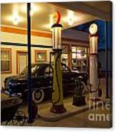 Route 66 Garage At Night Canvas Print