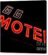 Route 66 Motel Neon Canvas Print
