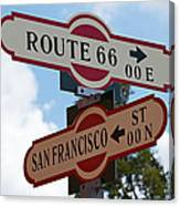 Route 66 Street Sign Canvas Print