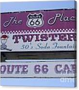 Route 66 Twisters Sign Canvas Print