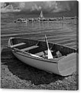 Row Boat On The Shore Of Lake Ontario In Toronto Canvas Print