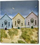 Row Of Pastel Colored Beach Cottages Canvas Print