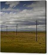 Row Of Utility Poles On The Prairie Canvas Print