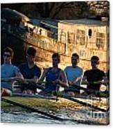 Rowers At Sunset Canvas Print